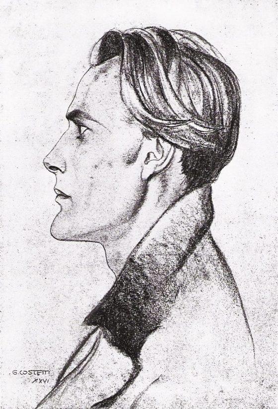 Retrato de Lanza del Vasto por Giovanni Costetti