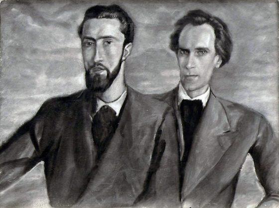 Retrato de Luc Dietrich y Lanza del Vasto por Giovanni, 1934