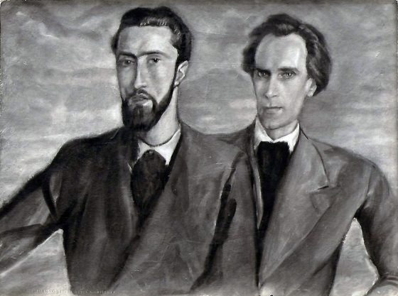 Portrait de Luc Dietrich et Lanza del Vasto par Giovanni Costetti - 1934