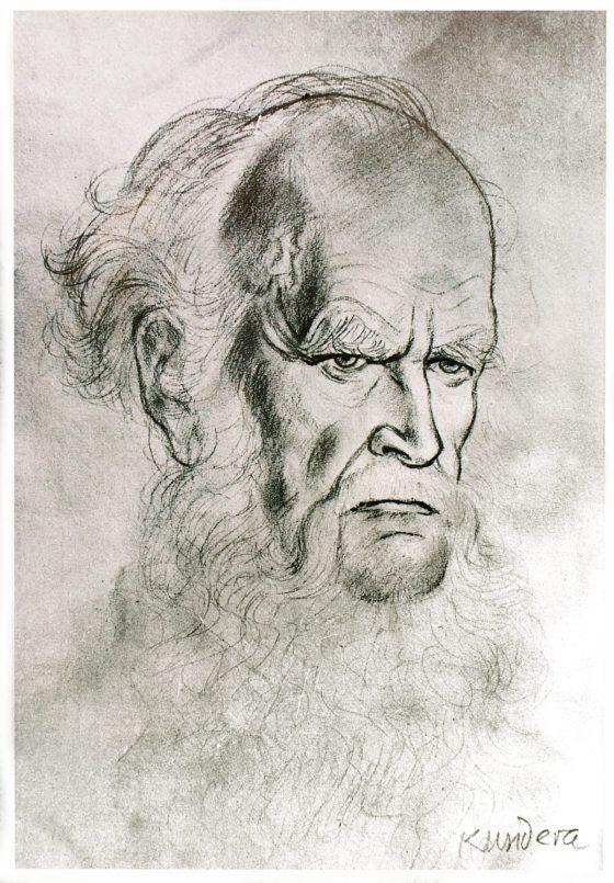 Retrato de Lanza del Vasto por Kundera