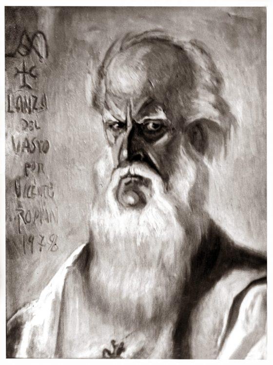 Retrato de Lanza del Vasto por Vicento Romani