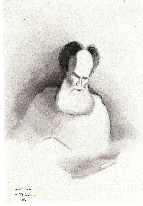 Dibujo de La Caille: Lanza del Vasto leyendo