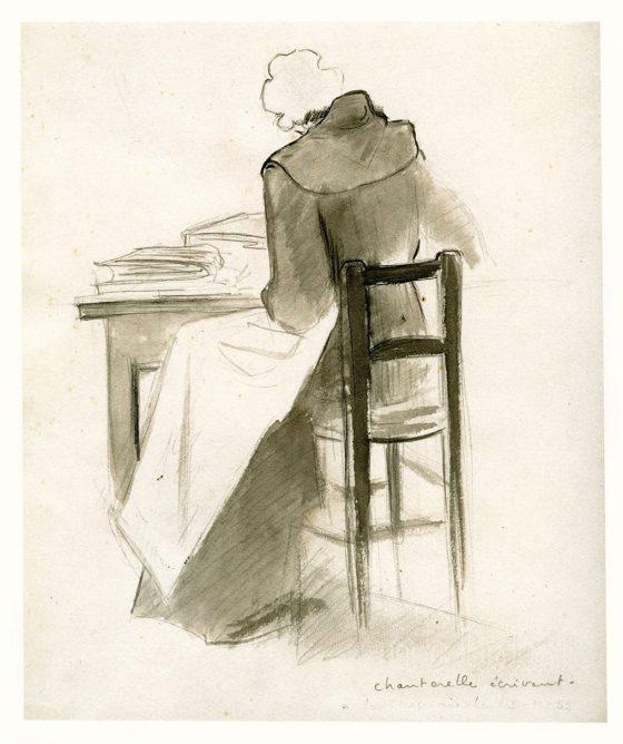 Dessin de La Caille : Chanterelle écrivant