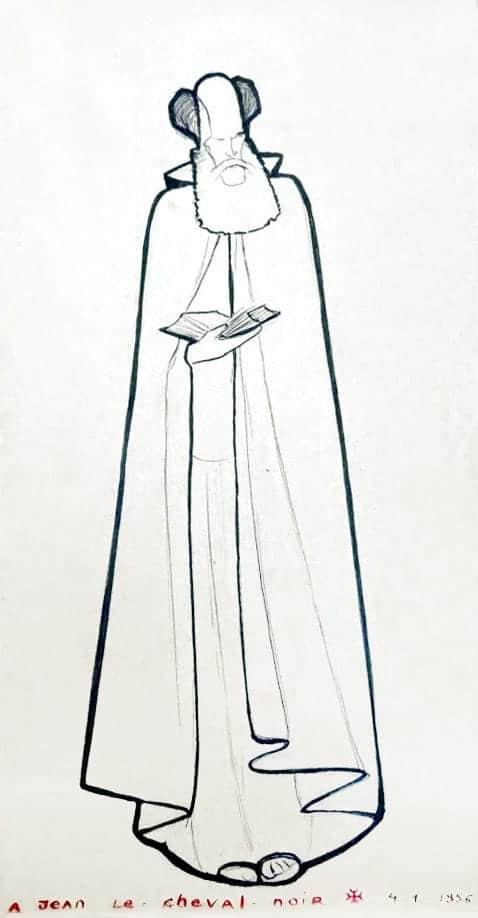 Dibujo de La Caille: Lanza del Vasto de pie