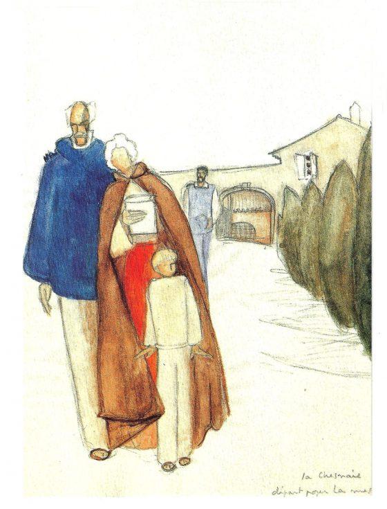 Dibujo de La Caille: salida para ir a misa