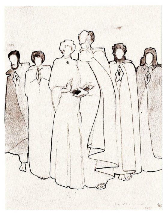 Dibujo de La Caille: plegaria