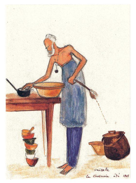 Dibujo de La Caille: lavando platos