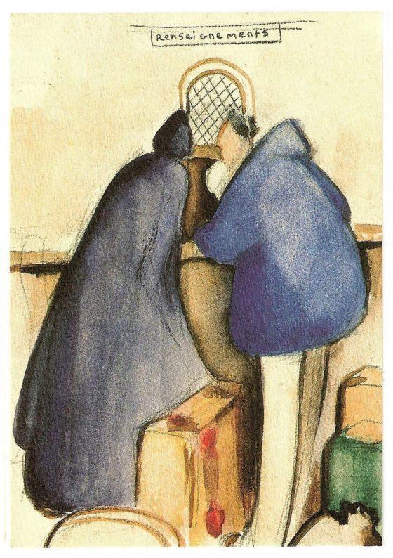 Dibujo de La Caille: en la taquilla