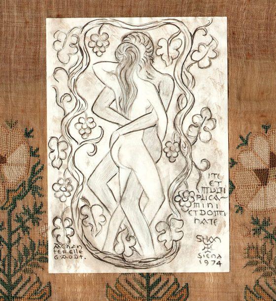 Adán y Eva [dibujo de Lanza del Vasto]