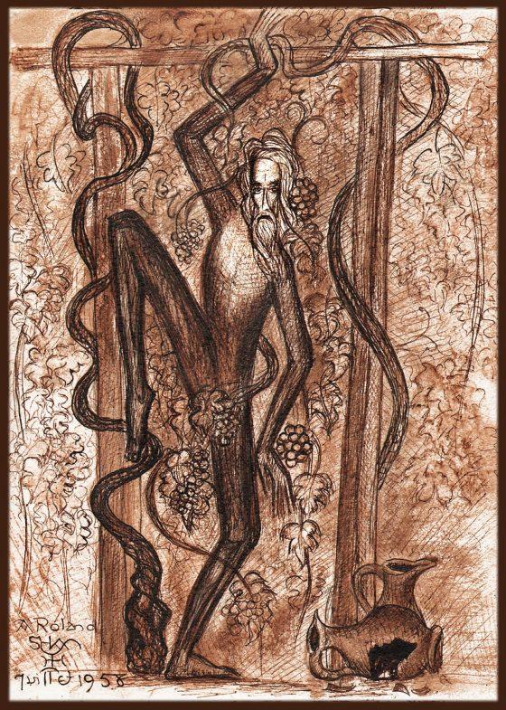 La embriaguez de Noé [dibujo de Lanza del Vasto]