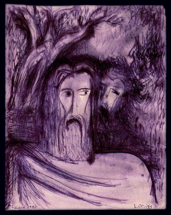 El beso de Judas [dibujo de Lanza del Vasto]