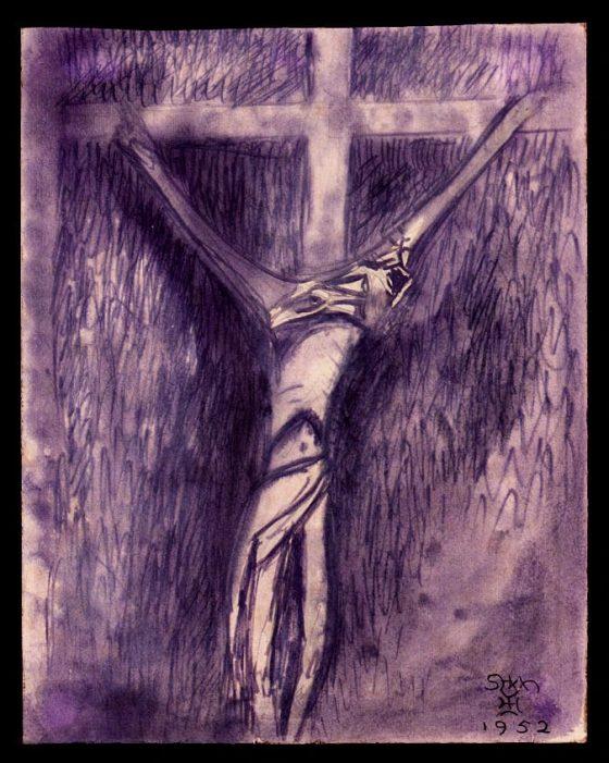 Jesús en la cruz [dibujo de Lanza del Vasto]