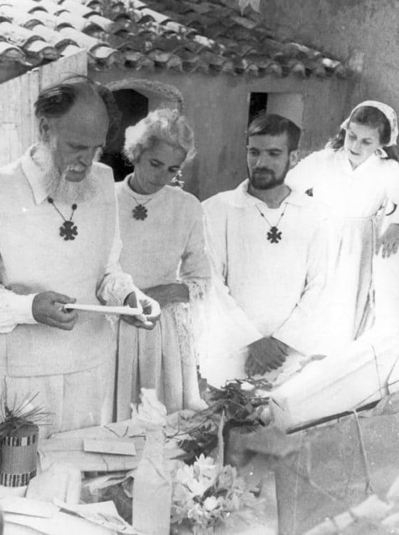 Lanza del Vasto - Avec son épouse Chanterelle et Pierre Parodi.