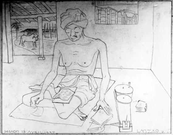 Gandhi au rouet dessiné par Lanza à Segaon, avril 1937.