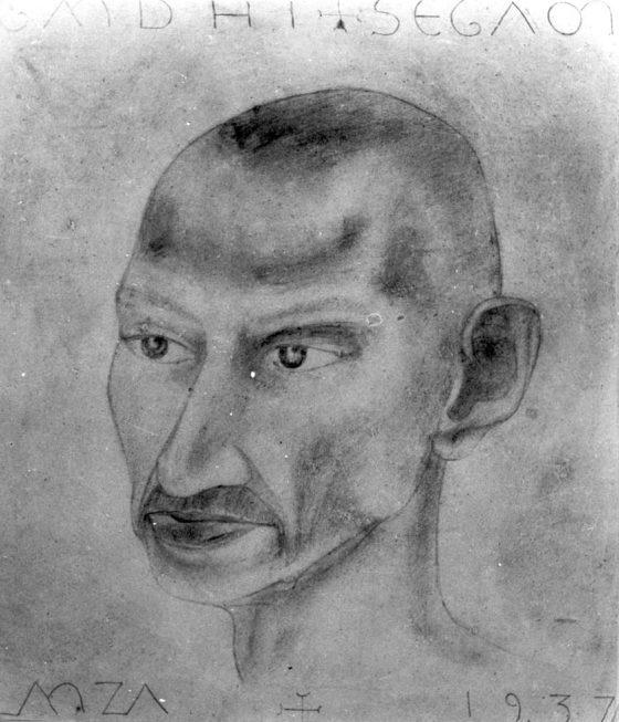 Gandhi dessiné par Lanza à Segaon, avril 1937.