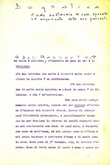 Beginning of the 1928 thesis Lanza del Vasto