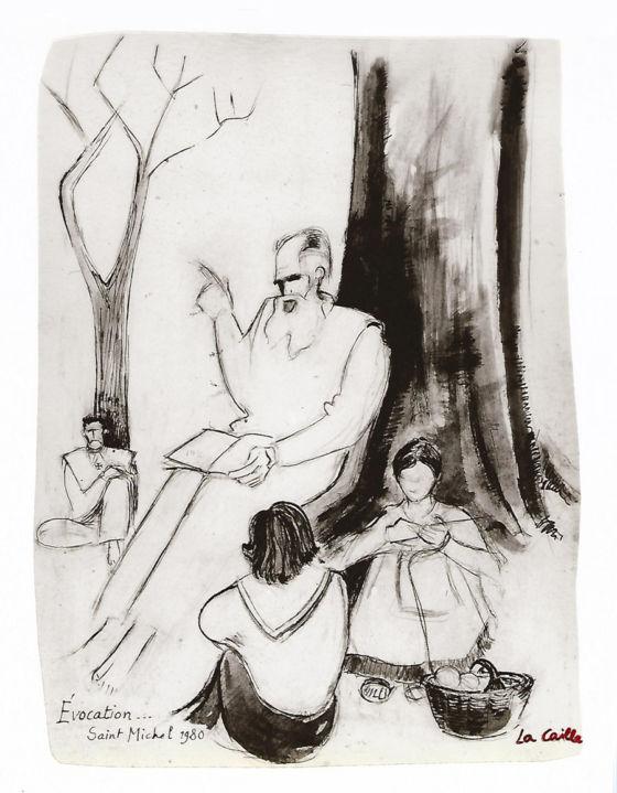 Lanza del Vasto - Un dessin de La Caille réalisé lors de la Saint-Michel 1980