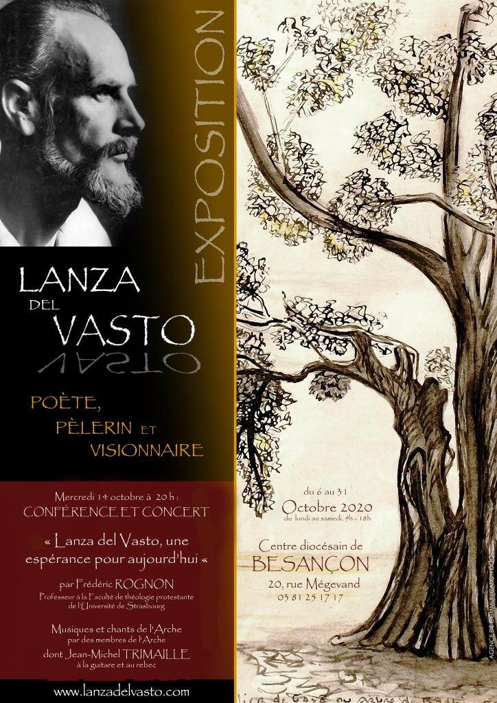 From October 6 to 31, 2020, the Diocesan Center of Besançon is hosting our exhibition on Lanza del Vasto