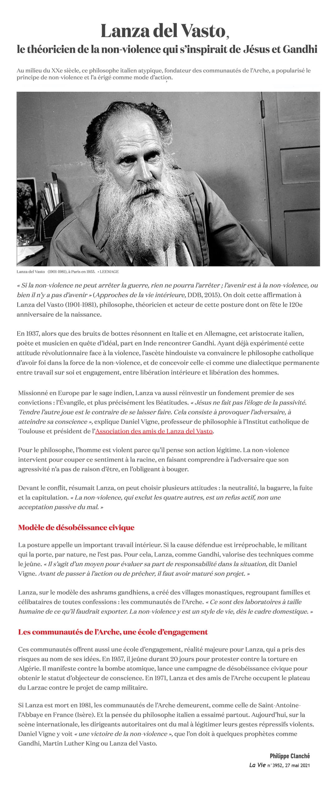 Lanza del Vasto à l'honneur dans le magazine La Vie - Mai 2021
